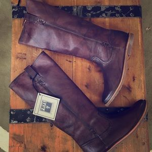 Frye Celia brown tall pull on boot 10M NEW leather